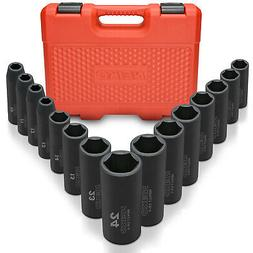 "Neiko 02474A 1/2"" Drive Deep Impact Socket Set, Cr-V Steel"