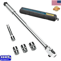 """1/2"""" Drive Click Type Torque Wrench W/ 3 Size Socket And Ext"""