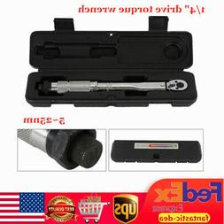 """1/4"""" Drive Torque Wrench 5-25NM Spanner Hand Tool Adjustable"""