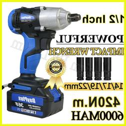 """21V Cordless 1/2""""Impact Wrench Electric Power High Torque Dr"""