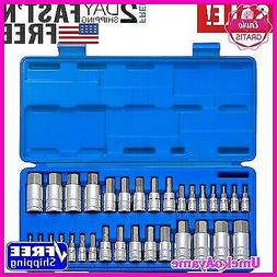 32Pcs Master Hex Key Socket Wrench Set Standard Inch Short A