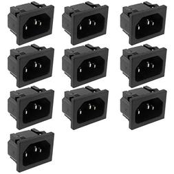 uxcell® 10 Pcs AC 250V 10A 3P C14 Plug Panel Mount Power In