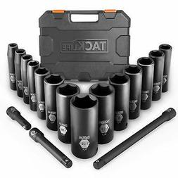 Drive Impact Socket Set, Tacklife 17pcs 1/2-inch Drive Deep