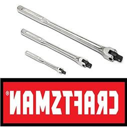 "Craftsman 3 pc piece flex handle breaker bar set 1/4"" 3/8"" 1"