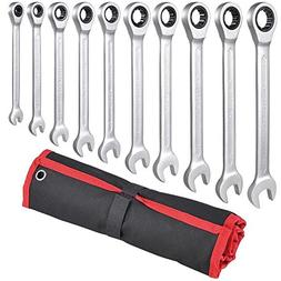 GHP Set of 10 6-18mm Steel Open Box End Combination Spanners
