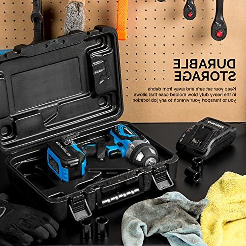 Neiko V Lithium-Ion Cordless Impact with Li-Ion Charger and Set 1/2-Inch Square Drive