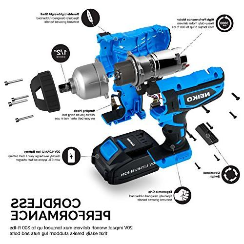 Neiko Lithium-Ion Cordless Wrench with Charger Drive