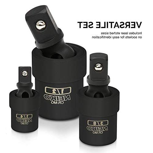 Cr-Mo Neiko 02486A Black Complete Impact Universal Joint Socket Swivel Set 3 Piece /¼ /½-Inch Drive 3//8