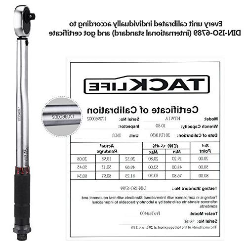 Tacklife Torque Wrench with Certification, Extension Bar, Adaptor, Reducer |