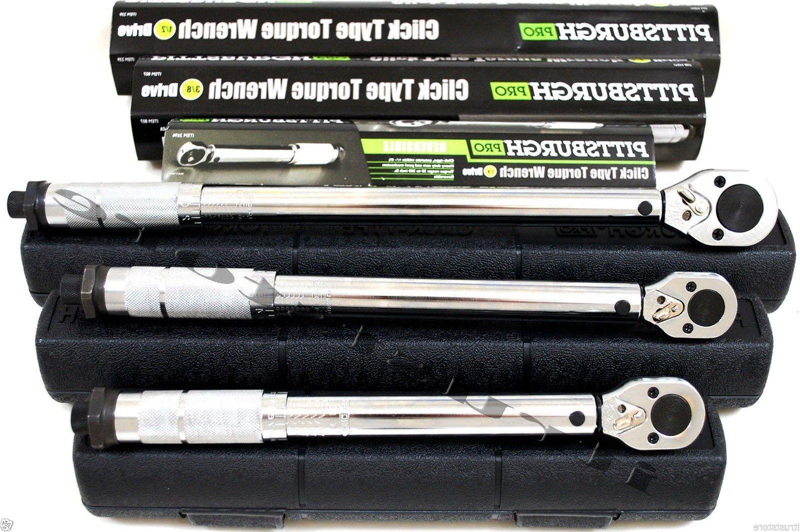 "Pittsburgh Click Stop Torque Wrench 1/2"", 3/8"", 1/4"" Socket"