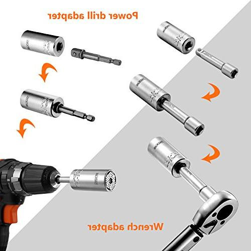 Universal Socket, Multifunctional Socket Wrench Set Steel, Wrench Drill Repair Tools -