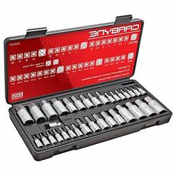 CARBYNE 33 Piece Master Hex Bit Socket Set, S2 Steel Bits |