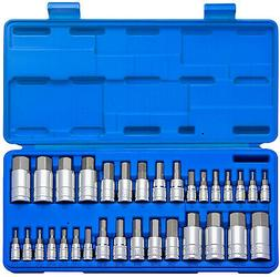 Master Hex Bit Socket Set S2 Steel 32-Piece Set SAE And Metr