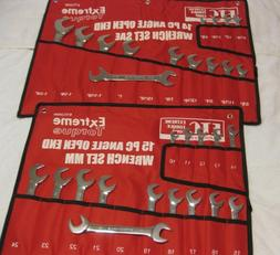 Special: 2 Open End 4-Way Angle Wrench Sets SAE & Metric ETC
