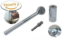 Universal Socket Wrench Set - Self-Adjusting 7mm Wrench to 1